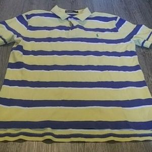 Polo by Ralph Lauren Shirts - Polo Ralph Lauren Yellow Blue Striped Rugby Polo L